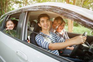 Family inside a minivan