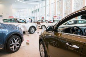 cars inside a showroom