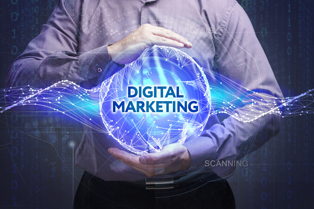 digital marketing hologram held by man